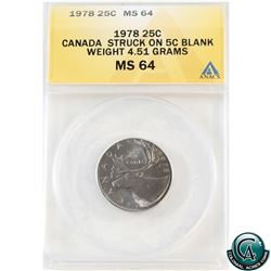 Error: 25-cent 1978 Struck on a 5-cent Blank (4.51 grams) ANACS Certified MS-64.