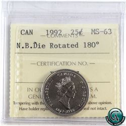 25-cent 1992 New Brunswick Die Rotated 180 Degrees ICCS Certified MS-63