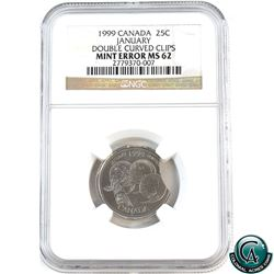 Double Curved Clips! 1999 January Millennnium 25-cent NGC Certified MS-62. Larger clip approximately