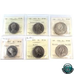 Nickel $1 1970 Cameo, 1972 Double 1972, 1973 Silver, 1974 Heavy Cameo Rev-509, 1975 rev-504 & 1976 C