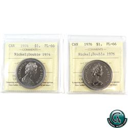 Nickel $1 1974 Double 1974 & 1976 Double 1976 both ICCS Certified PL-66. 2pcs