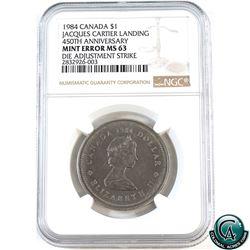 Error: Nickel $1 1984 Jacques Cartier 450th Anniversary, Die Adjustment Strike, NGC Certified MS-63.