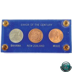 Error: New Zealand 1967 2-cent Mule Error, Struck with Bahama's 5-cent obverse die, comes displayed
