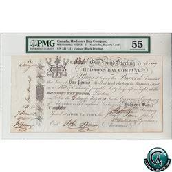 MB101006bii 1820-21 Hudson Bay Company 1 Pound Sterling Banknote, Manitoba, Ruperts Land PMG Certifi