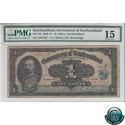 NF-12b 1920 Government of Newfoundland $1 - St.John's, S/N: A367267 PMG Choice F-15.