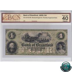 40-10-02-06 1959 Bank of Brantford $4. Stokes-Kingsmill, Partially engraved date. S/N 199 BCS Certif