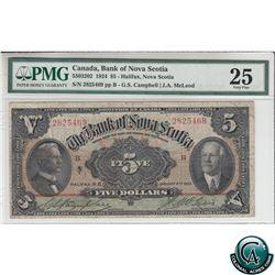 55-03-202 1924 Bank of Nova Scotia $5, Campbell-McLeod, S/N: 2825469-B PMG Certified VF-25.