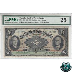 55-03-402 1929 Bank of Nova Scotia $5, Moore-McLeod, S/N: 1617910-B PMG Certified VF-25 (minor rust)