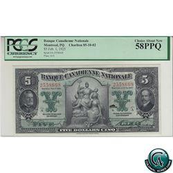 85-10-02 1925 Banque Canadienne Nationale $5, Series A, Vaillancourt-Leman S/N: 2558668 PCGS Certifi
