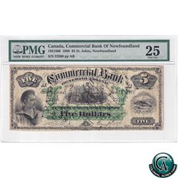 185-18-06 1888 Commercial Bank of Newfoundland $5, S/N#22266/AB PMG Certified VF-25