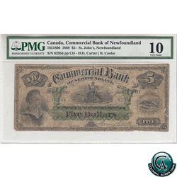 185-18-06 1888 Commercial Bank of Newfoundland $5,CD-H.D. Carter-H.Cooke, S/N 02954 pp, PMG VG-10