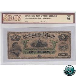 185-18-06 1888 Commercial Bank Of NFLD $5, Cartier-cooke, Check Letter B, S/N 16312, BCS G-6 (Minor