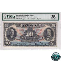220-24-06 1931 Dominion Bank $10, Toronto Ontario, Austin-Bogert, S/N: 093420/A PMG Certified VF-25.