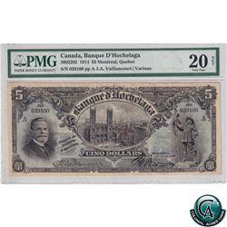 360-22-02 1914 Banque D-Hochelaga $5, Montreal QC, Vaillancourt-Various. S/N: 039100 PMG VF-20 Net (