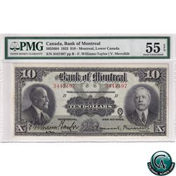 505-56-04 1923 Bank of Montreal $10, Williams-Taylor-Meredith, S/N: 3447497 PMG AU-55 EPQ. Well Cent
