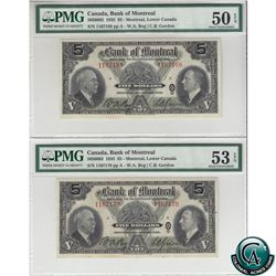 505-60-02 1935 Bank of Montreal $5, 2 in sequence, Bog-Gordon S/N: 1167169/70. Both Notes PMG Certif