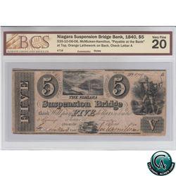 535-10-06-06 1840 Niagara Suspension Bridge Bank $5. McMicken-Hamilton, S/N: 4719-A BCS Certified VF