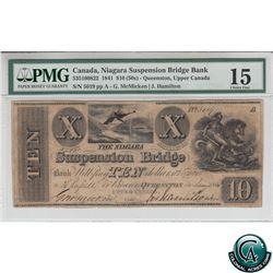 535-10-08-22 1841 Niagara Suspension Bridge Bank $10. McMicken-Hamilton, S/N:5019 PMG Choice F-15.