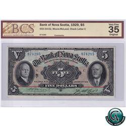 550-34-02 1929 Bank of Nova Scotia $5 Moore-McLeod, Check Letter C, 874285 BCS Certified VF-35 Origi