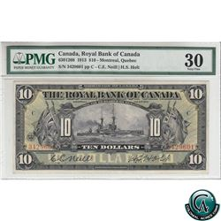 630-12-08 1913 Royal Bank of Canada $10 Montreal Quebec. Neill-Holt, S/N: 3429601-C PMG Certified VF