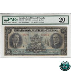 630-14-10 1927 Royal Bank of Canada $20 Montreal, Quebec. Neill-Holt, S/N:169225-C PMG Certified VF-
