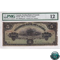 700-10-02 1906 Sterling Bank of Canada $5, Various-Somers, S/N:146548 PMG F-12. Note has been trimme