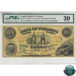 715-22-44 1929 Bank of Toronto $10, Henwood-Gooderham, S/N:1411206-B PMG Certified VF-30. Bright Vib