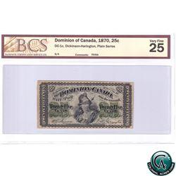 DC-1c 1870 Dominion of Canada 25-cent, Dickinson-Harington, Plain series, BCS VF-25 (holed)