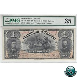 DC-13b. 1898 Dominion of Canada $1, Series G, One's Outward, Various-Courtney, S/N: 113185-A PMG Cer