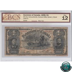 DC-13c 1898 Dominion of Canada $1, Outward ONE's, Series L, Various-Boville, S/N: 680988-D BCS Certi