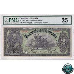 DC-14c 1897 Dominion of Canada $2, Various-Boville, S/N: 157467 PMG VF-25. A Well Centered Note.