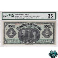 DC-18b 1911 Dominion of Canada $1, Various-Bouville, S/N: 202214/D, Green Line PMG Certified Choice