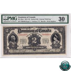 """DC-22a-i 1914 Dominion of Canada $2, Various-Boville, """"Will Pay..."""", Curved, Series D-K. S/N: 709348"""