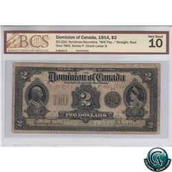 """DC-22d 1914 Dominion of Canada $2, """"Will Pay..."""" Straight, Seal over TWO, Series P, Hyndman-Saunders"""