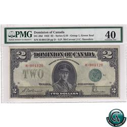 DC-26d 1923 Dominion of Canada $2, Green Seal, Group 1, Series G-H, McCavour-Saunders, S/N: 004120/D