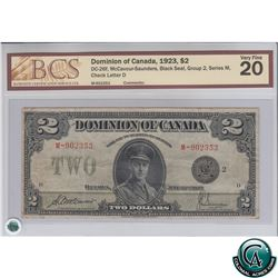 DC-26f 1923 Dominion of Canada $2, Black Seal, Group 2, McCavour-Saunders, S/N: 902353/M BCS VF-20.