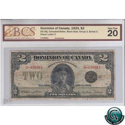 DC-26j 1923 Dominion of Canada $2, Black Seal, Series U, Group 3, Campbell-Sellar, S/N: 428061-C BCS