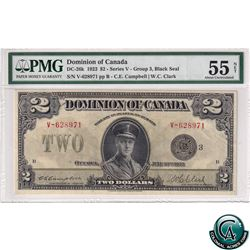 DC-26K 1923 Dominion of Canada$2, Black Seal, Group 3, Series V, Campbell-Clark, S/N: 628971/B PMG C