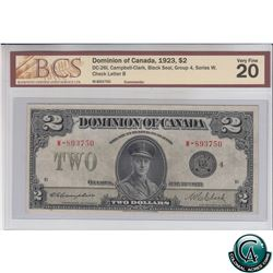 DC-26l 1923 Dominion of Canada $2, Black Seal, Series W, Group 4, Campbell-Clark, S/N: 893750-B BCS