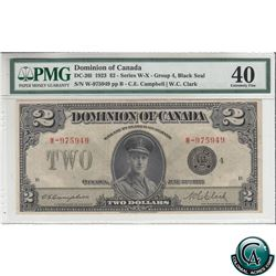 DC-26l 1923 Dominion of Canada $2, Black Seal, Series W, Group 4, Campbell-Clark, S/N: 975949-B PMG