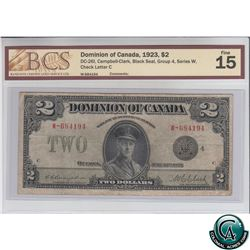 DC-26l 1923 Dominion of Canada $2, Black Seal, Group 4, Series W, Campbell-Clark, S/N:684194-C BCS C