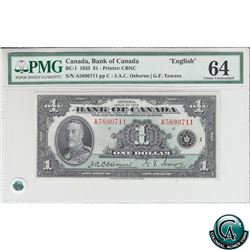 BC-1 1935 Bank of Canada English $1, Osborne-Towers, S/N: 5890711/A PMG Choice UNC-64