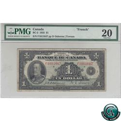 BC-2 1935 Bank of Canada French $1, Osborne-Towers, S/N: F1011647, PMG Certified VF-20