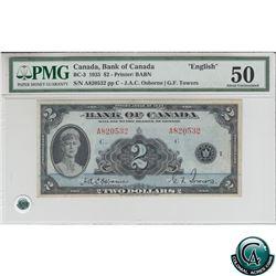 BC-3 1935 Bank of Canada English $2, Osborne-Towers, S/N: 820532/A PMG AU-50.
