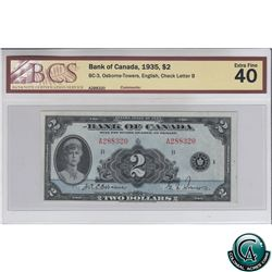 BC-3 1935 Bank of Canada English $2, Osborne-Towers, S/N: A288320-B BCS Certified EF-40.