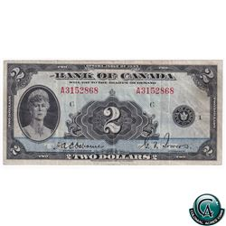 BC-3 1935 Bank of Canada English $2, Osborne-Towers, S/N: 3152868/A, F-VF