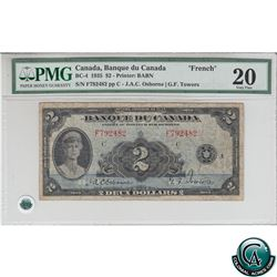 BC-4 1935 Bank of Canada French $2, Osborne-Towers, S/N:792482/F PMG VF-20.