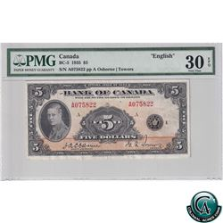 BC-5 1935 Bank of Canada $5, Osborne-Towers, S/N: 075822/A PMG Certified VF-30 EPQ!