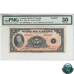 BC-5 1935 Bank of Canada English $5, Osborne-Towers, S/N: A964269-A PMG Certified VF-30.