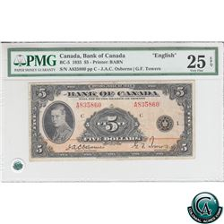 BC-5 1935 Bank of Canada English $5, Osborne-Towers, S/N: 835860/A PMG VF-25 EPQ.